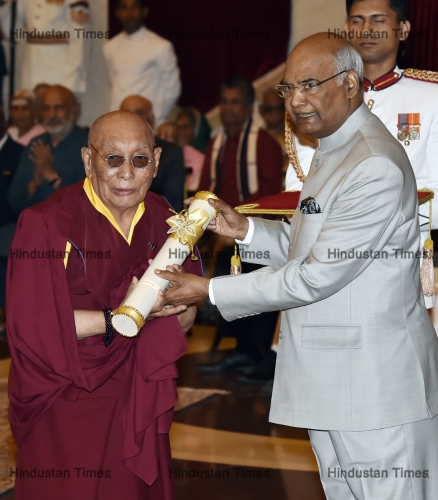 Dr. Yeshi Dhonden and Indian President Ram Nath Kovind