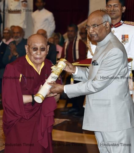 Dr. Yeshi Dhonden and Indian President Ram Nath Kovind