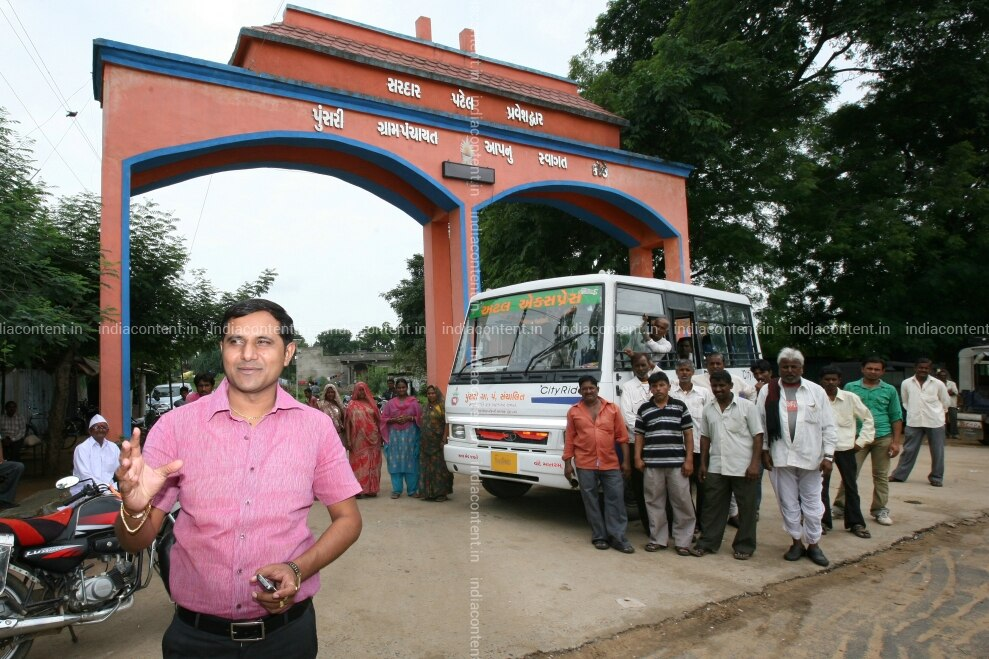 Himanshu Patel with Villagers